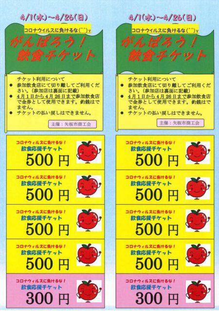 市商工会が販売する応援チケット